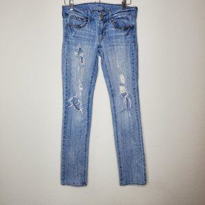 American Eagle Light Wash Distressed Studded Jeans